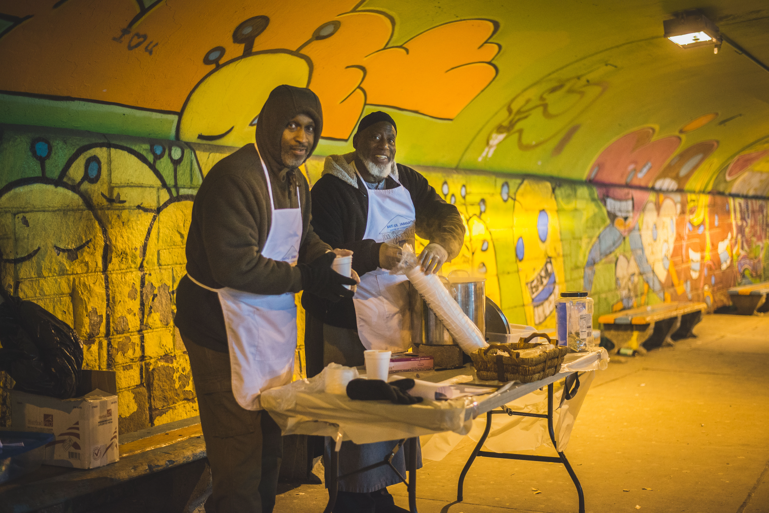 Local Community Vendors setting up urban food station for needy